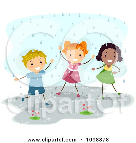 Clipart Happy Diverse Children Playing In The Rain - Royalty Free Vector Illustration by BNP Design Studio