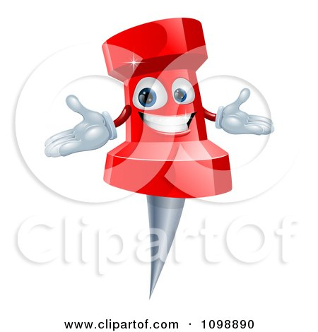 Clipart Happy Red Push Pin Mascot - Royalty Free Vector Illustration by AtStockIllustration