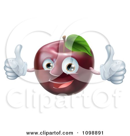 Clipart Happy Red Apple Mascot Holding Two Thumbs Up - Royalty Free Vector Illustration by AtStockIllustration