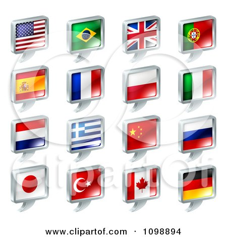 Clipart 3d Chat Balloon Flag Icons With Chrome Edges - Royalty Free Vector Illustration by AtStockIllustration