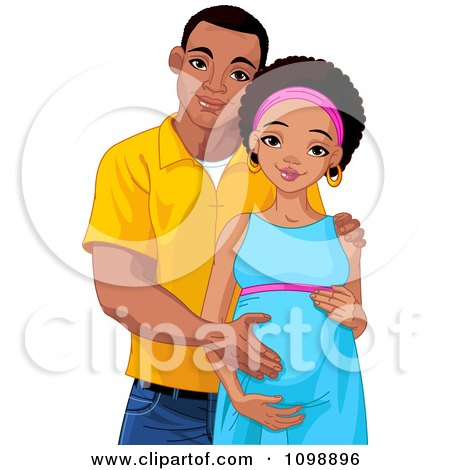Clipart Happy Pregnant Black Woman And Her Husband Posing And Holding Her Baby Belly - Royalty Free Vector Illustration by Pushkin