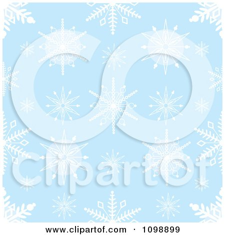 Clipart Seamless Blue And White Snowflake Background Pattern - Royalty Free Vector Illustration by Maria Bell