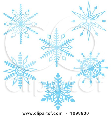 Clipart Blue Ornate Winter Snowflakes - Royalty Free Vector Illustration by Maria Bell