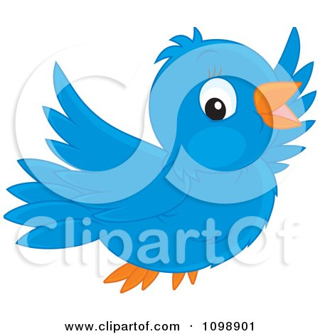Clipart Happy Cute Bluebird Flying - Royalty Free Vector Illustration by Alex Bannykh