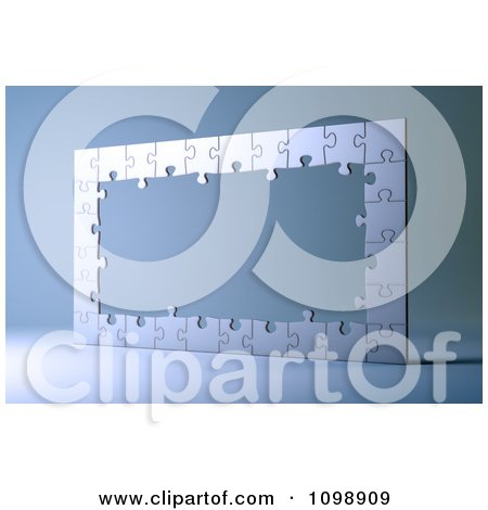 Clipart 3d Silver Puzzle Frame - Royalty Free CGI Illustration by Mopic