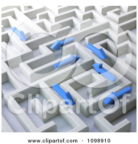 Clipart 3d Blue Arrows Trying To Find Their Way Through A Labyrinth Maze - Royalty Free CGI Illustration by Mopic