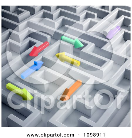 Clipart 3d Colorful Arrows Trying To Find Their Way Through A Labyrinth Maze - Royalty Free CGI Illustration by Mopic