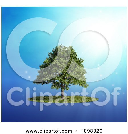Clipart 3d Lush Tree And A Circle Of Grass Over Blue With Rays - Royalty Free CGI Illustration by Mopic