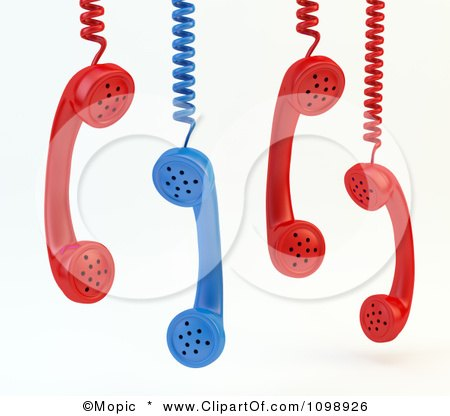 Clipart 3d Red And Blue Landline Telephone Receivers Hanging - Royalty Free CGI Illustration by Mopic