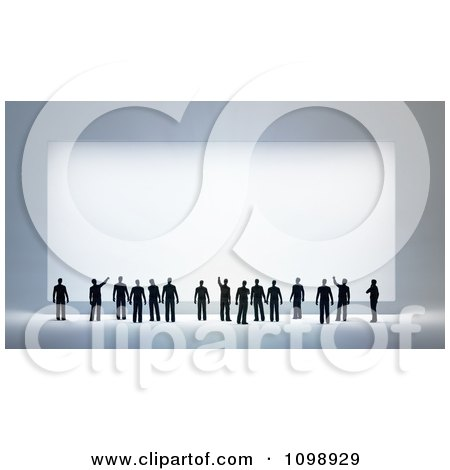 Clipart 3d Small People Looking Up And Pointing At A Large Sign - Royalty Free CGI Illustration by Mopic
