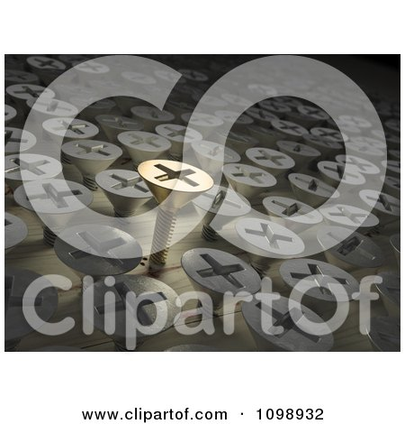 Clipart 3d Gold Screw Standing Out From Other Screws In Wood - Royalty Free CGI Illustration by Mopic