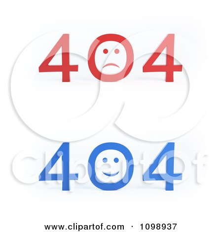 Clipart Blue And Red 404 Error File Not Found Messages - Royalty Free CGI Illustration by Mopic