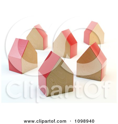 Clipart 3d Red Wooden Block Houses - Royalty Free CGI Illustration by Mopic