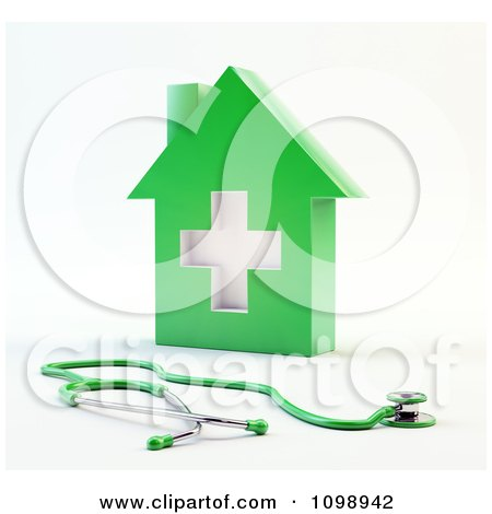 Clipart 3d Green Medical Cross House And Stethoscope - Royalty Free CGI Illustration by Mopic