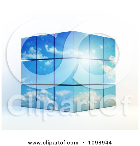 Clipart 3d Stacked Cubes Of Sunshine And Blue Cloudy Sky - Royalty Free CGI Illustration by Mopic
