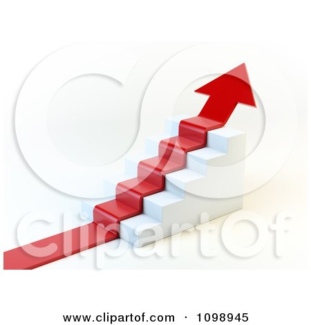 Clipart 3d Red Arrow Climbing Stairs - Royalty Free CGI Illustration by Mopic