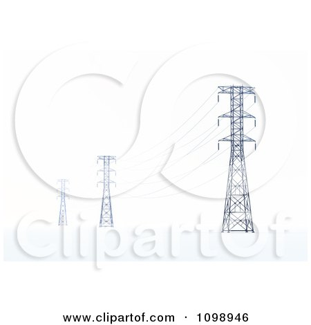 Clipart 3d Power Transmission Tower Pylons And Lines - Royalty Free CGI Illustration by Mopic