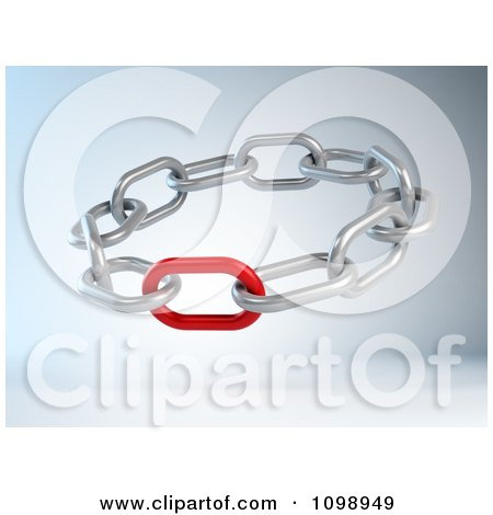 Clipart 3d Weak Or Strong Red Link In A Circle Of Chains - Royalty Free CGI Illustration by Mopic