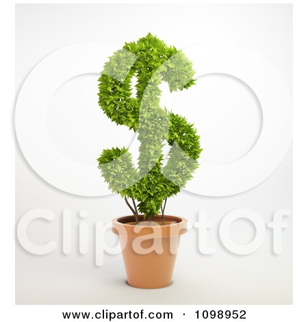 Clipart 3d Dollar Symbol Plant In A Terra Cotta Pot - Royalty Free CGI Illustration by Mopic