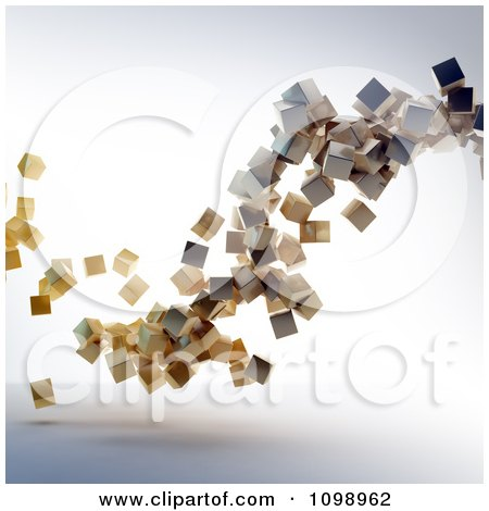 Clipart 3d Floating Wooden Cubes - Royalty Free CGI Illustration by Mopic
