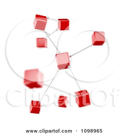 Clipart 3d Connection Diagram Red Cubes - Royalty Free CGI Illustration by Mopic