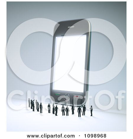 Clipart 3d Tiny People Pointing And Looking Up At A Giant Cell Phone - Royalty Free CGI Illustration by Mopic