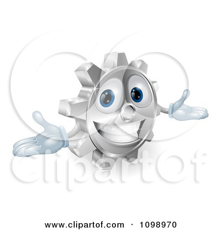 Clipart 3d Smiling Gear Cog With Open Arms - Royalty Free Vector Illustration by AtStockIllustration