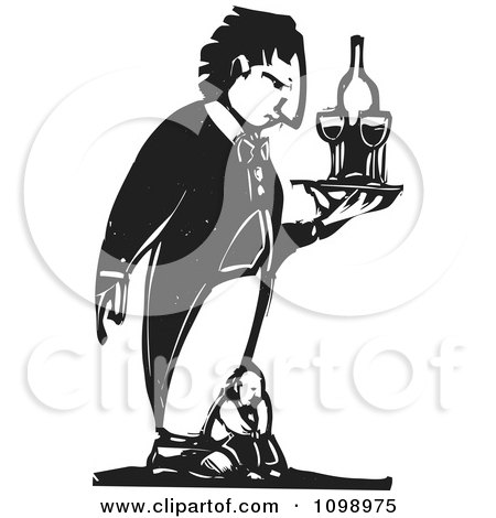 Clipart Needy Man On A Giant Penguin Butlers Feet Black And White Woodcut - Royalty Free Vector Illustration by xunantunich