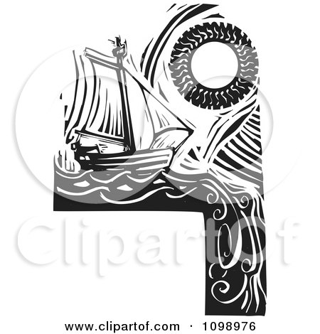 Clipart Sailing Ship And Sun Around A Blank Sign Black And White Woodcut - Royalty Free Vector Illustration by xunantunich