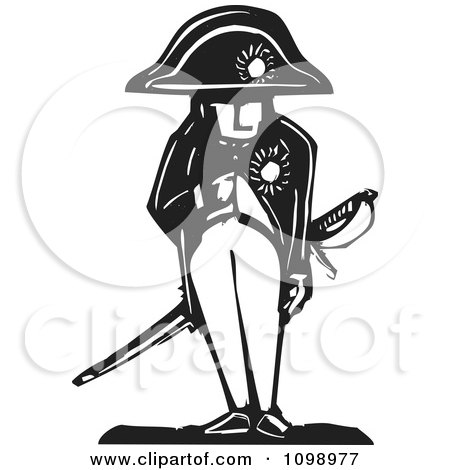 Clipart Napoleon Bonaparte Standing With His Hand In His Jacket Black And White Woodcut - Royalty Free Vector Illustration by xunantunich