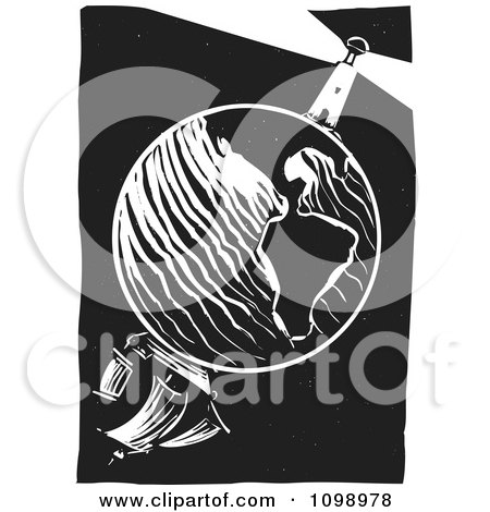 Clipart Planet Earth With A Sailboat On One Side And A Lighthouse And Beacon On The Other Black And White Woodcut - Royalty Free Vector Illustration by xunantunich