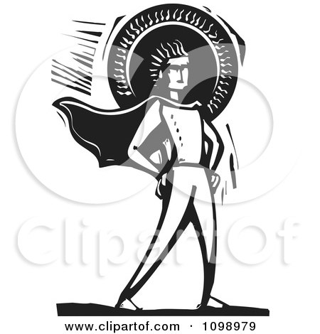 Clipart Male Super Hero Standing With His Hands On His Hips Against The Sun Black And White Woodcut - Royalty Free Vector Illustration by xunantunich