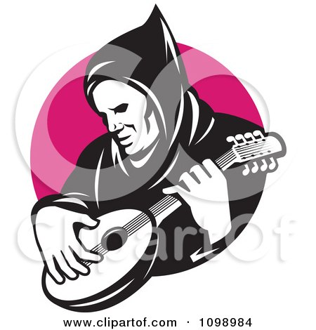 Clipart Retro Hooded Man Playing A Banjo Over A Pink Circle - Royalty Free Vector Illustration by patrimonio