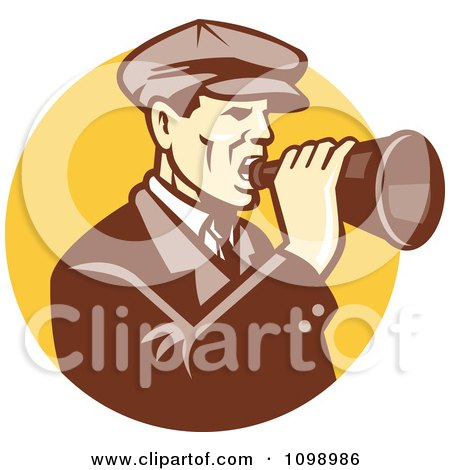 Clipart Retro Man Shouting Into A Bullhorn Over A Yellow Circle - Royalty Free Vector Illustration by patrimonio