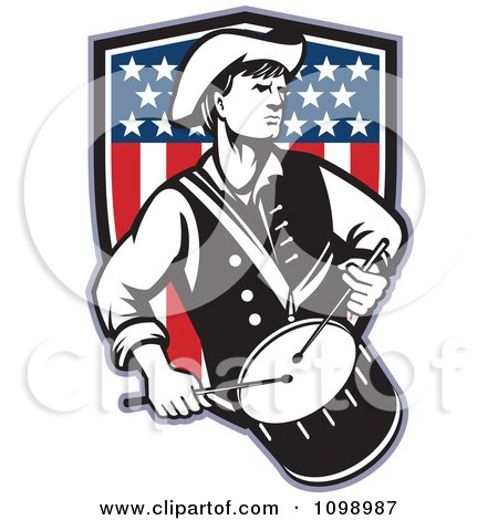Clipart Retro American Revolutionary War Soldier Patriot Minuteman Drummer With A Shield Of Stars And Stripes - Royalty Free Vector Illustration by patrimonio