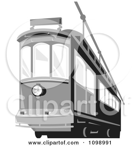 Clipart Retro Grayscale Cable Street Car Tram 2 - Royalty Free Vector Illustration by patrimonio