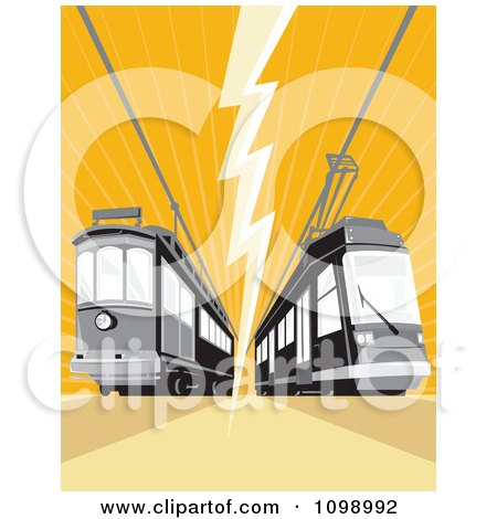 Clipart Retro Cable Street Car Trams With An Electrical Bolt On Orange - Royalty Free Vector Illustration by patrimonio