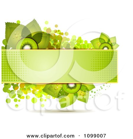 Clipart Background Of Kiwi Slices And Leaves On A Green Halftone Banner Over Dots - Royalty Free Vector Illustration by merlinul