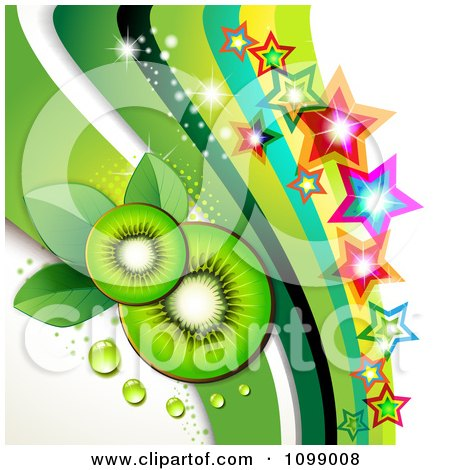 Clipart Background Of Kiwi Slices With Colorful Stars And Green Waves - Royalty Free Vector Illustration by merlinul