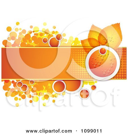 Clipart Background Of A Dewy Orange And Leaves With A Banner And Halftone Dots - Royalty Free Vector Illustration by merlinul