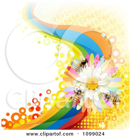 Clipart Background Of Honey Bees On A Daisy Rainbow Wave With Honeycombs - Royalty Free Vector Illustration by merlinul