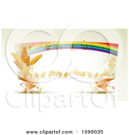Clipart Origami Banner With Shamrocks Wheat Butterflies And A Dewy Rainbow - Royalty Free Vector Illustration by merlinul
