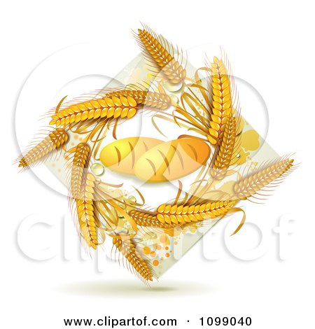 Clipart French Bread Loaves And A Diamond Of Whole Wheat - Royalty Free Vector Illustration by merlinul