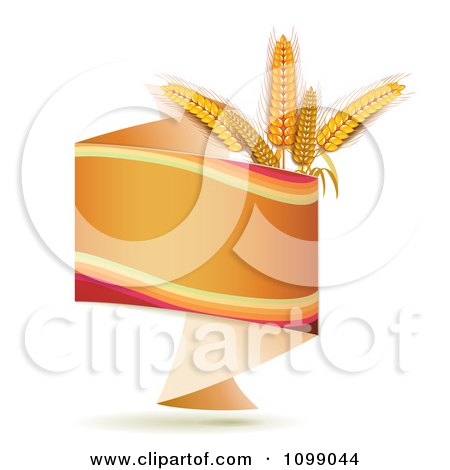 Clipart Orange Origami Banner With Whole Wheat Grains - Royalty Free Vector Illustration by merlinul