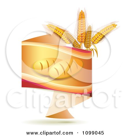 Clipart Orange Origami Banner With French Bread And Whole Wheat Grains - Royalty Free Vector Illustration by merlinul