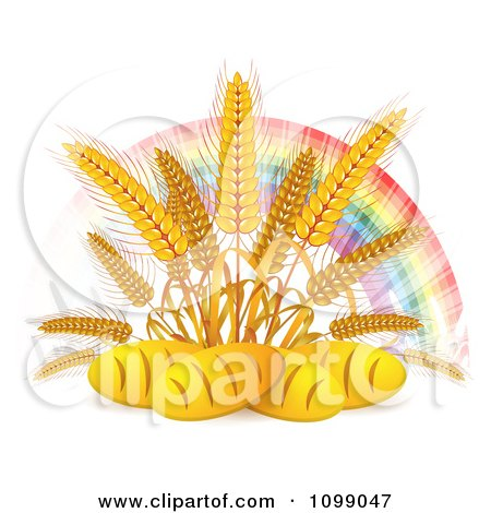 Clipart French Bread Loaves Under Whole Wheat Grains And A Rainbow - Royalty Free Vector Illustration by merlinul