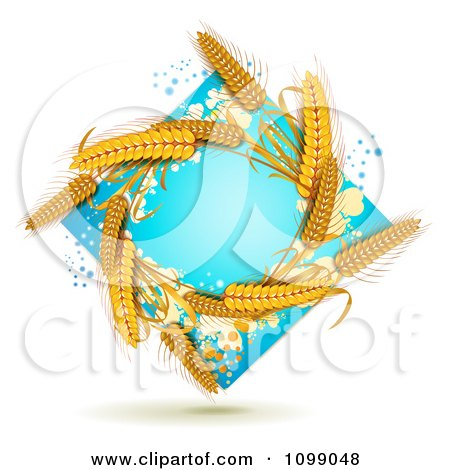 Clipart Whole Grain Wheat In A Blue Diamond With Splatters - Royalty Free Vector Illustration by merlinul