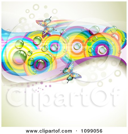 Clipart Background Of Butterflies With Mesh Waves And Rainbow Circles - Royalty Free Vector Illustration by merlinul