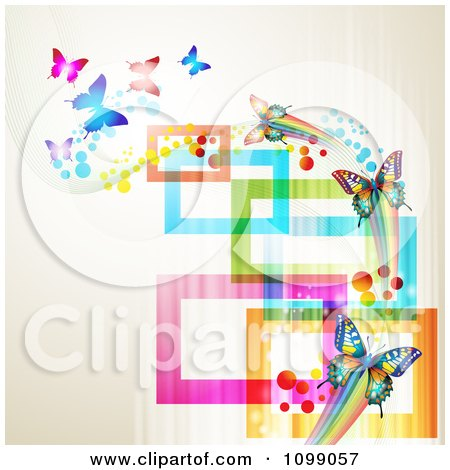 Clipart Background Of Butterflies With Streaks And Colorful Rectangles - Royalty Free Vector Illustration by merlinul