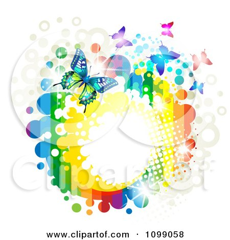 Clipart Background Of Butterflies With Rainbow Stripes Dots Sparkles And Splatters - Royalty Free Vector Illustration by merlinul